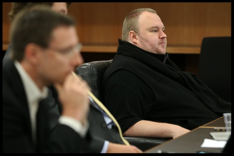 Internet entrepreneur Kim Dotcom in court after his hearing was moved from the North Shore District Court on September 21, 2015 in Auckland, New Zealand.