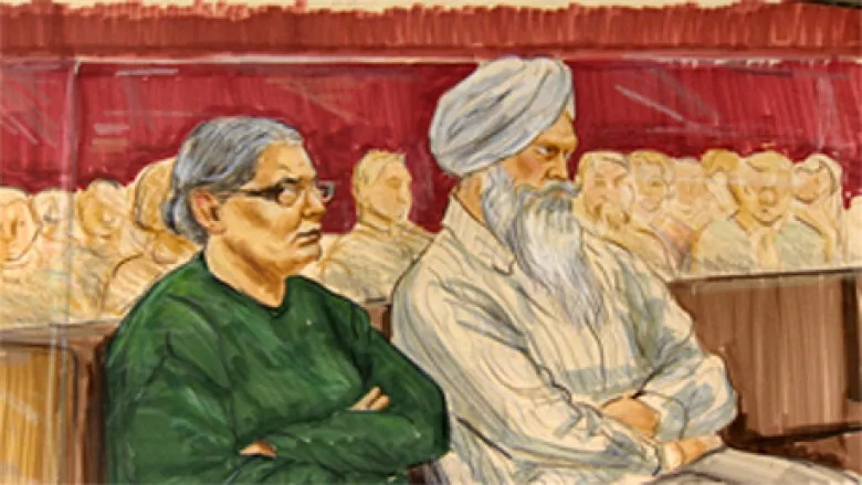 In India, Sidhu and Badesha, pictured in a sketch from a previous court appearance, are charged with supplying money to contract killers. (CBC)