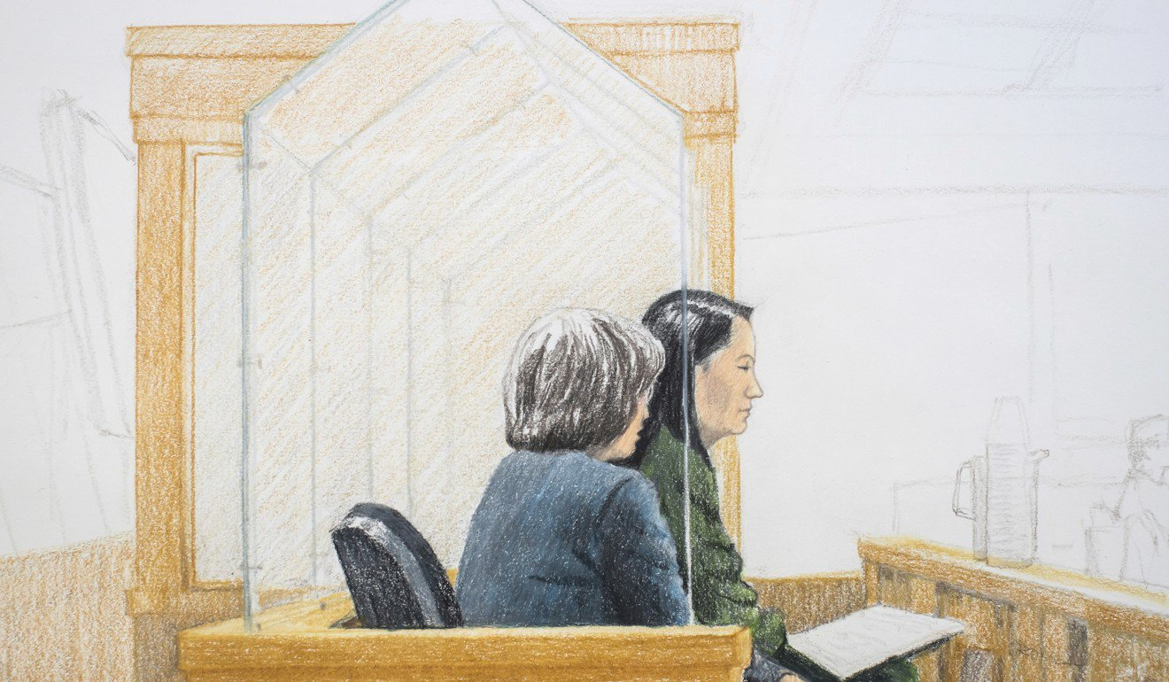 In this courtroom sketch, Meng Wanzhou, right, the chief financial officer of Huawei Technologies, sits beside a translator during a bail hearing at British Columbia Supreme Court in Vancouver, on Friday. Graphic: Jane Wolsak / The Canadian Press via AP