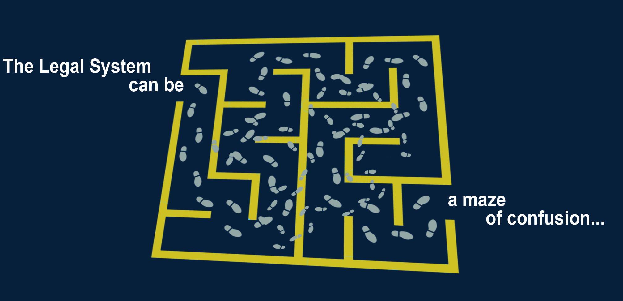 Maze with random footprints representing confusing legal system.