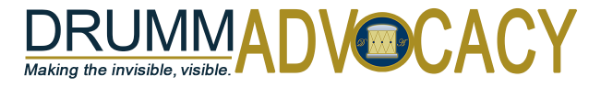 DrummAdvocacy logo - making the invisible, visible. We focus on courtroom disability rights.