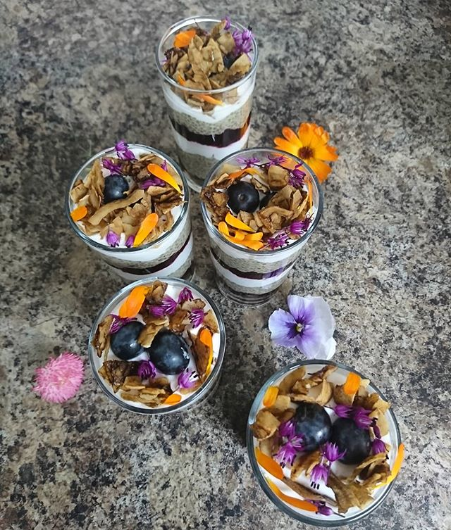Layered chia pudding for some of our guests this morning..... ☀ 💐 ☀