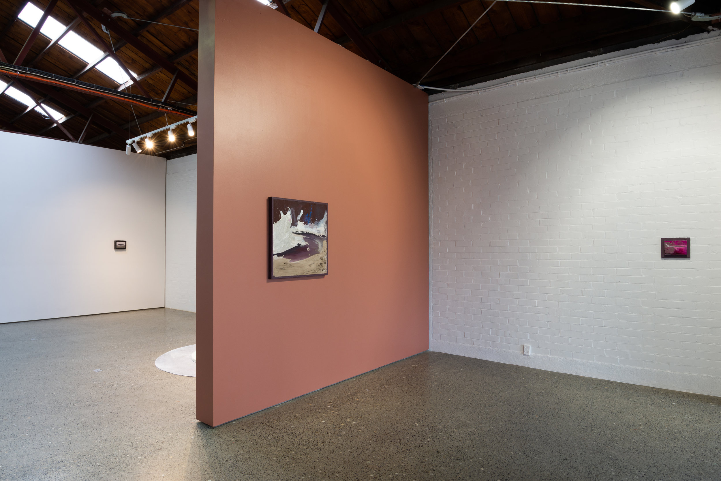 Installation shot of   Double Dribble 2   at The National, Christchurch    Zone 2-1,     acrylic and oil on board, acrylic on pine frame, 740 x 740mm, 2018 (left)    Zone 4-2   ,  acrylic and oil on board, 205 x 255mm, 2019 (right)  Photo credit: Mitchell Bright