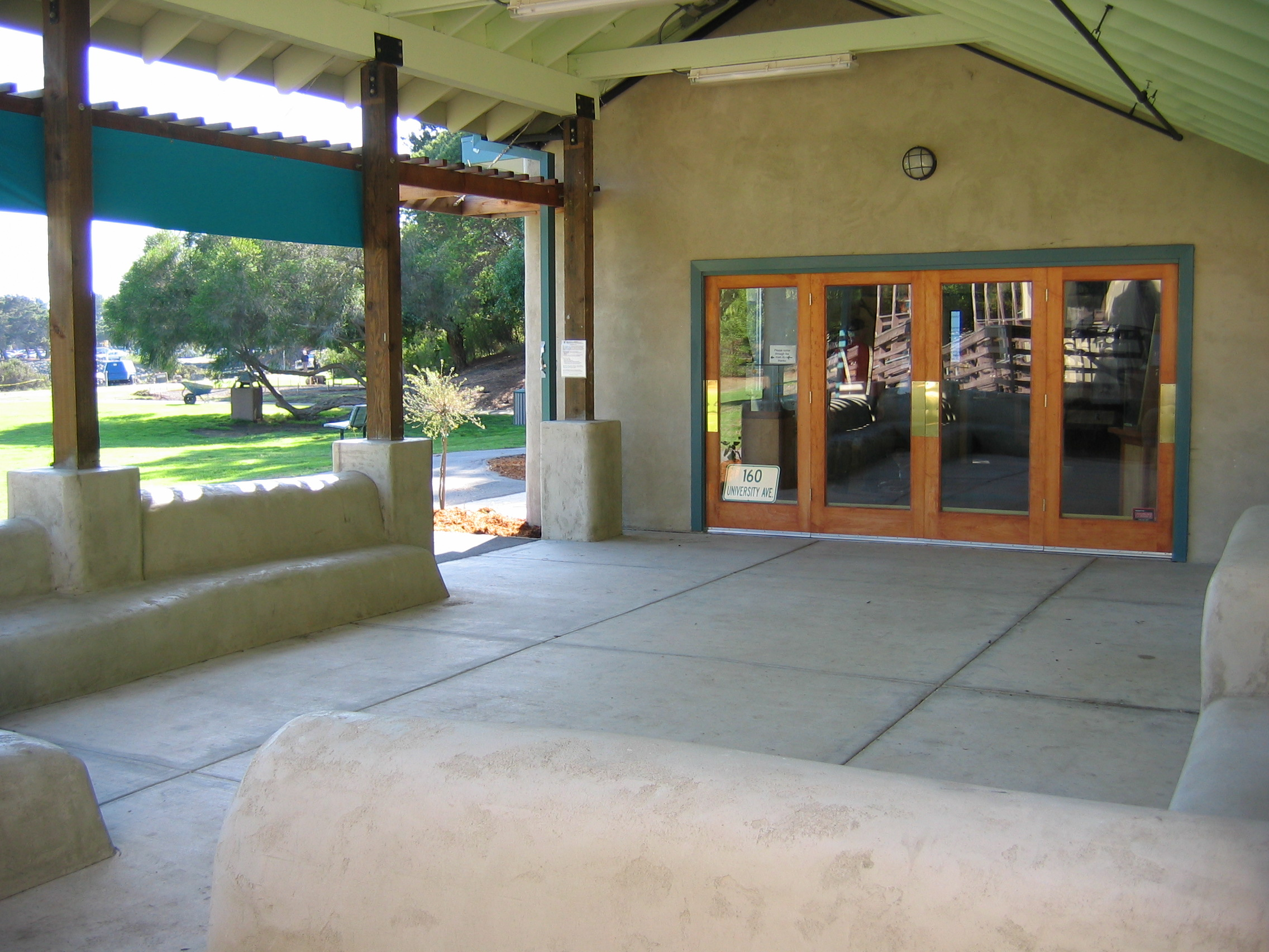 Strawbale seating in the outdoor classroom