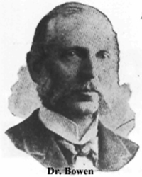 DR. SEABURY BOWEN, 1840-1918, family physician to the Borden family, he was a witness at the inquest and the preliminary as well as final trial. His extensive testimony pertained to several aspects of the Borden murder investigation.