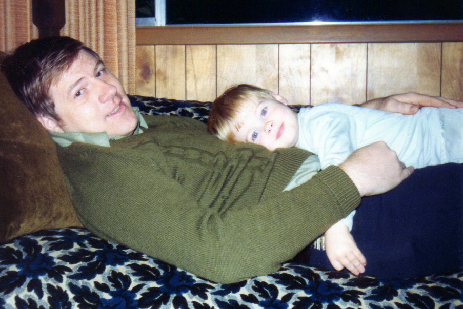 Me and my dad in 1975. And yes, that couch was AWESOME.