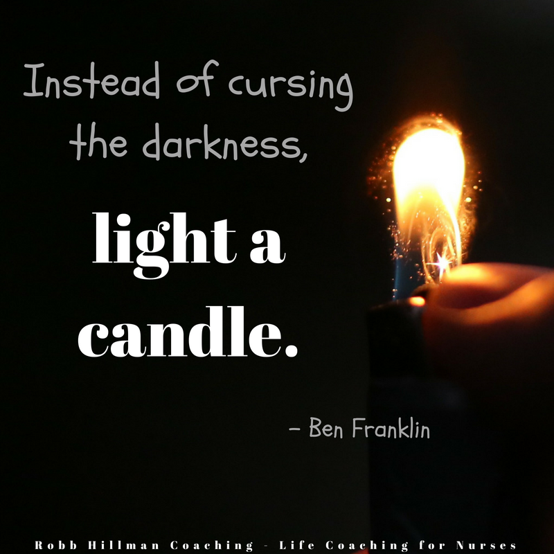Robb Hillman Life Coach for Nurses light a candle