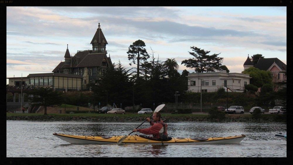 Kayaking past the Carson Mansion