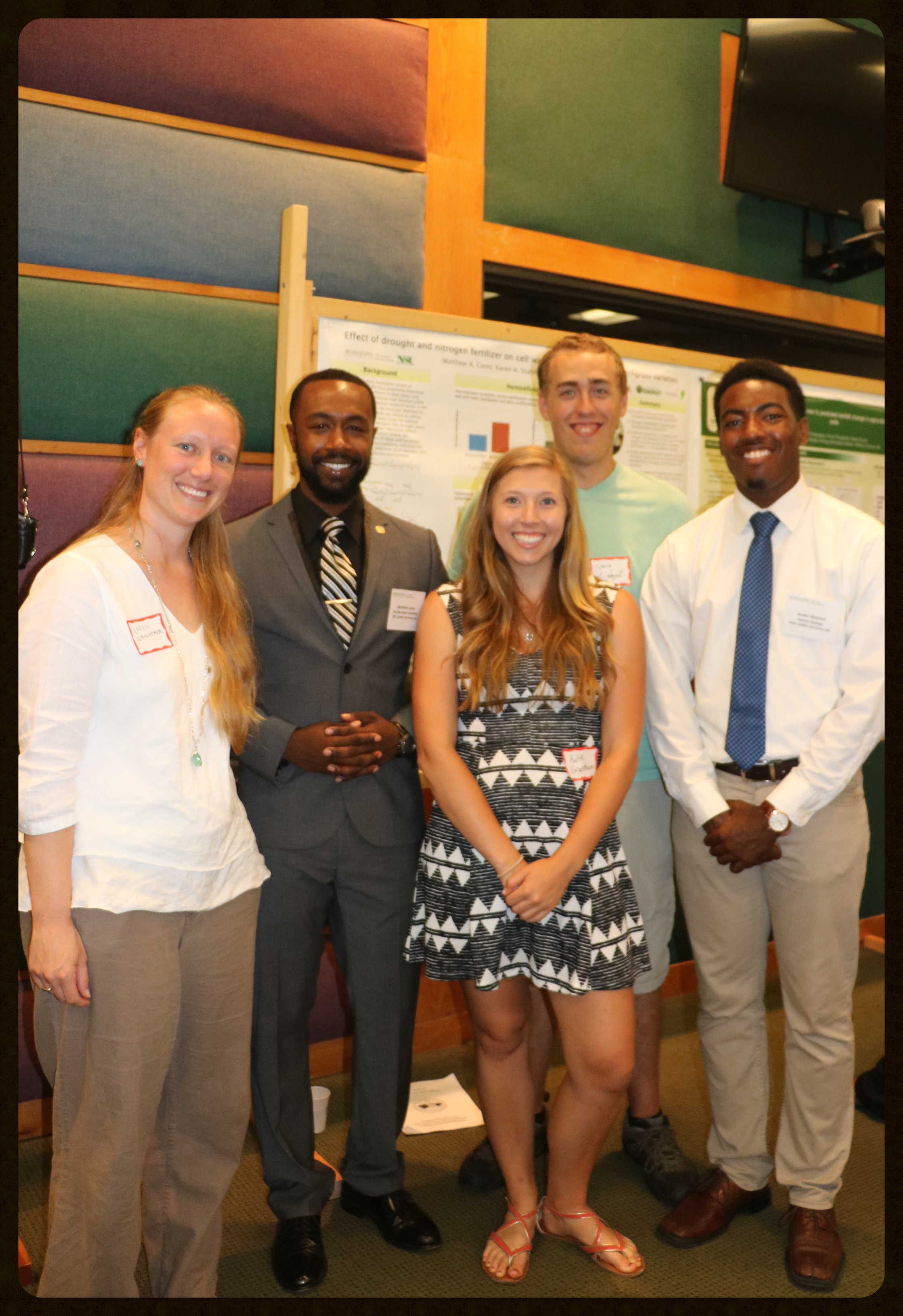 Gross Lab researchers Karen, Matthew, Katie, Jacob & Austin (left to right) at the 2015 Summer Symposium.