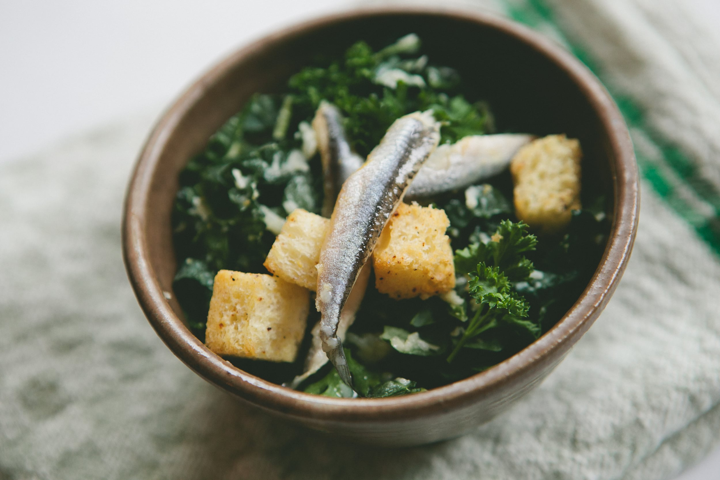 kale and parsley caesar. brioche, piment d'espelette
