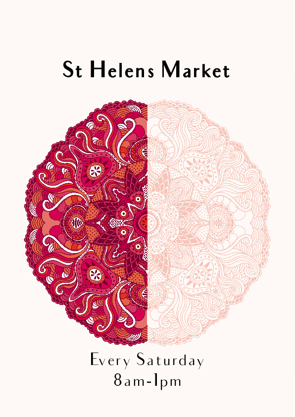 Stalls are stacked with craftwork, clothing, jams, cakes, bric-a-brac, fresh produce & more & more. Every Saturday at St Helens!
