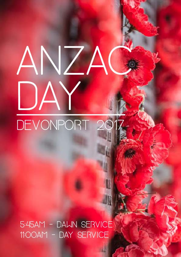 Devonport's dawn service begins at 5:45am and a main parade at 11am.