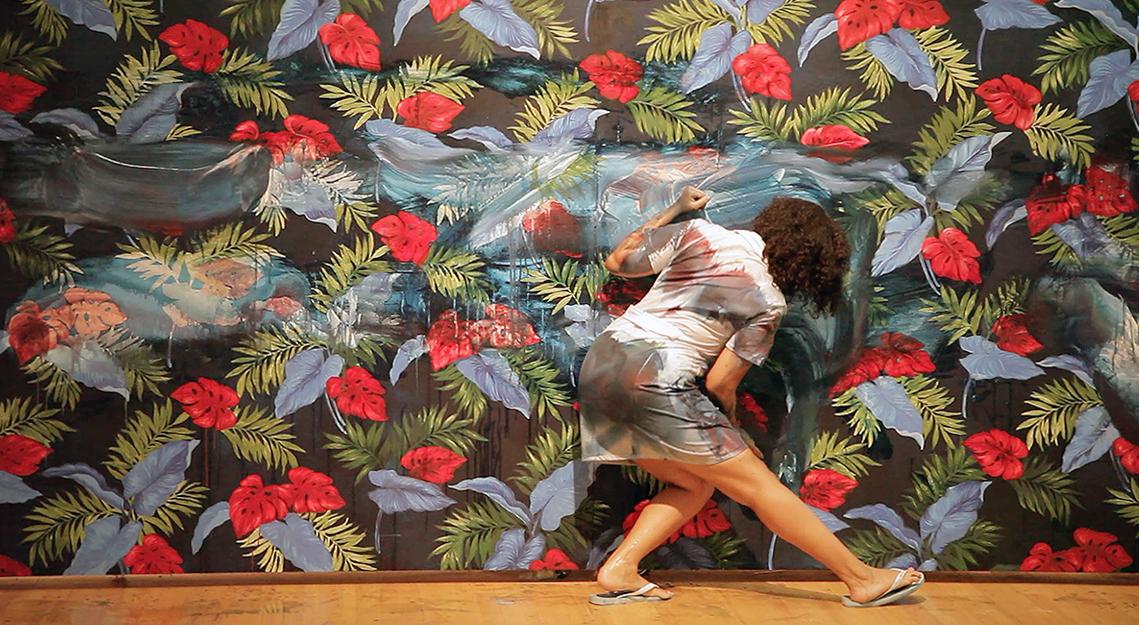 Siboney , pintura sobre pared y performance,2014