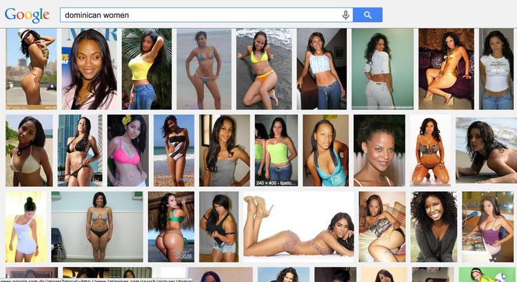 """Captura de pantalla de las imágenes que se muestran luego de buscar """"dominican women"""" en Google."""