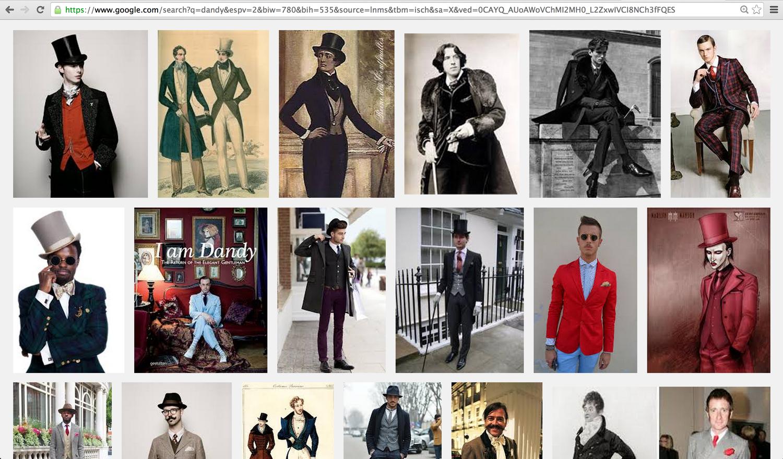 """Captura de pantalla de los resultados de la búsqueda de imágenes en Google de la palabra """"dandy""""."""