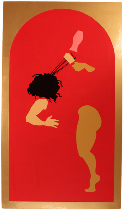 Cabeza Bonita Aguanta Halones,  pintura acrílica y pintura de 14 k de oro sobremadera contrachapada,2014.