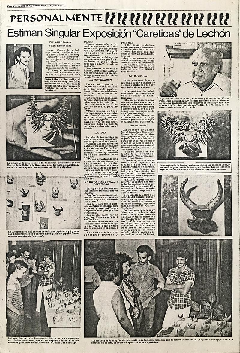 Reseña de la Exhibición Careticas de Lechón. 1981.
