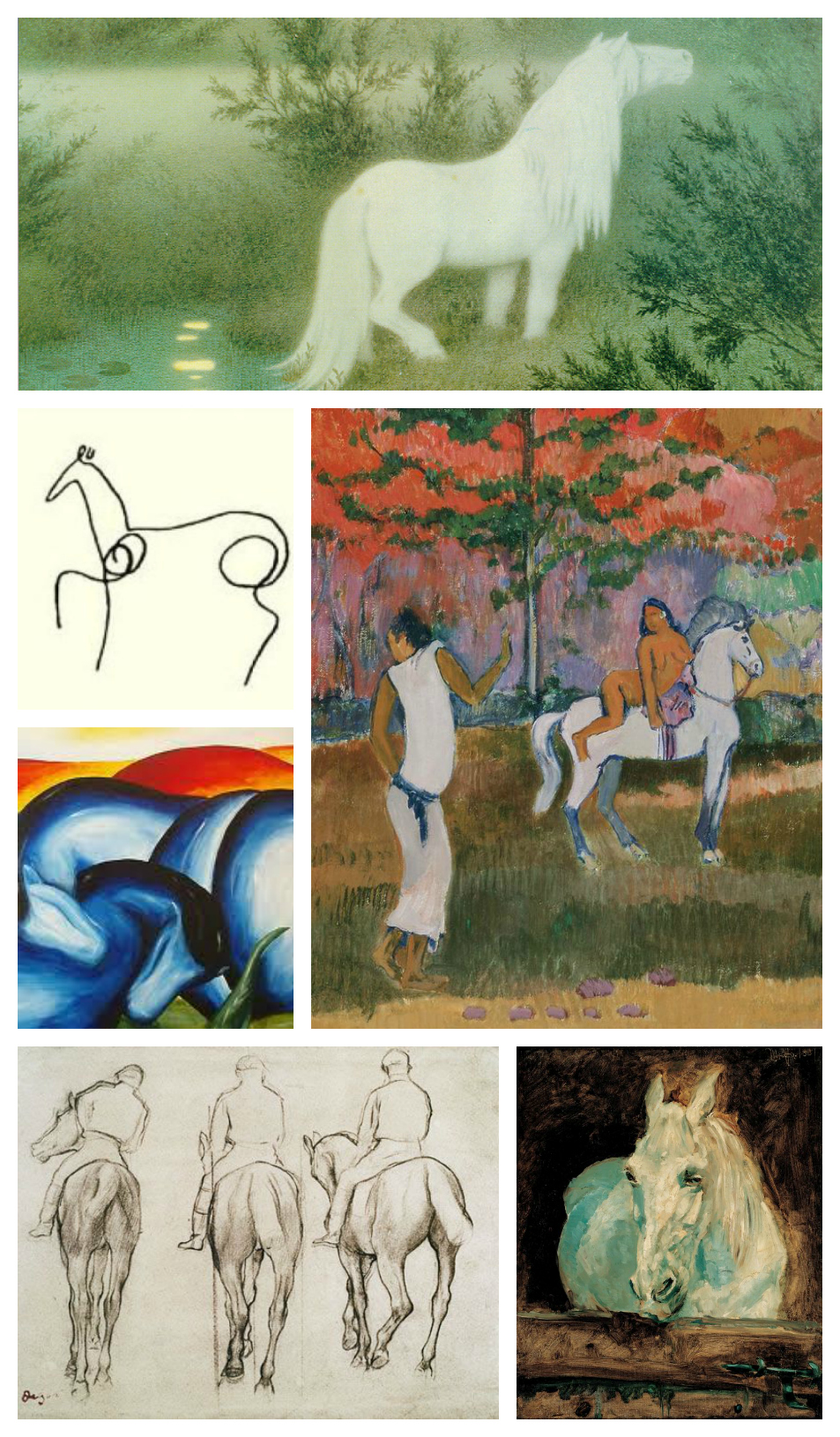 Artists from top: Theodor Kittelsen, Pablo Picasso, Paul Gaugain, Franz Marc, Edgar Degas and Henri de Toulouse Lautrec