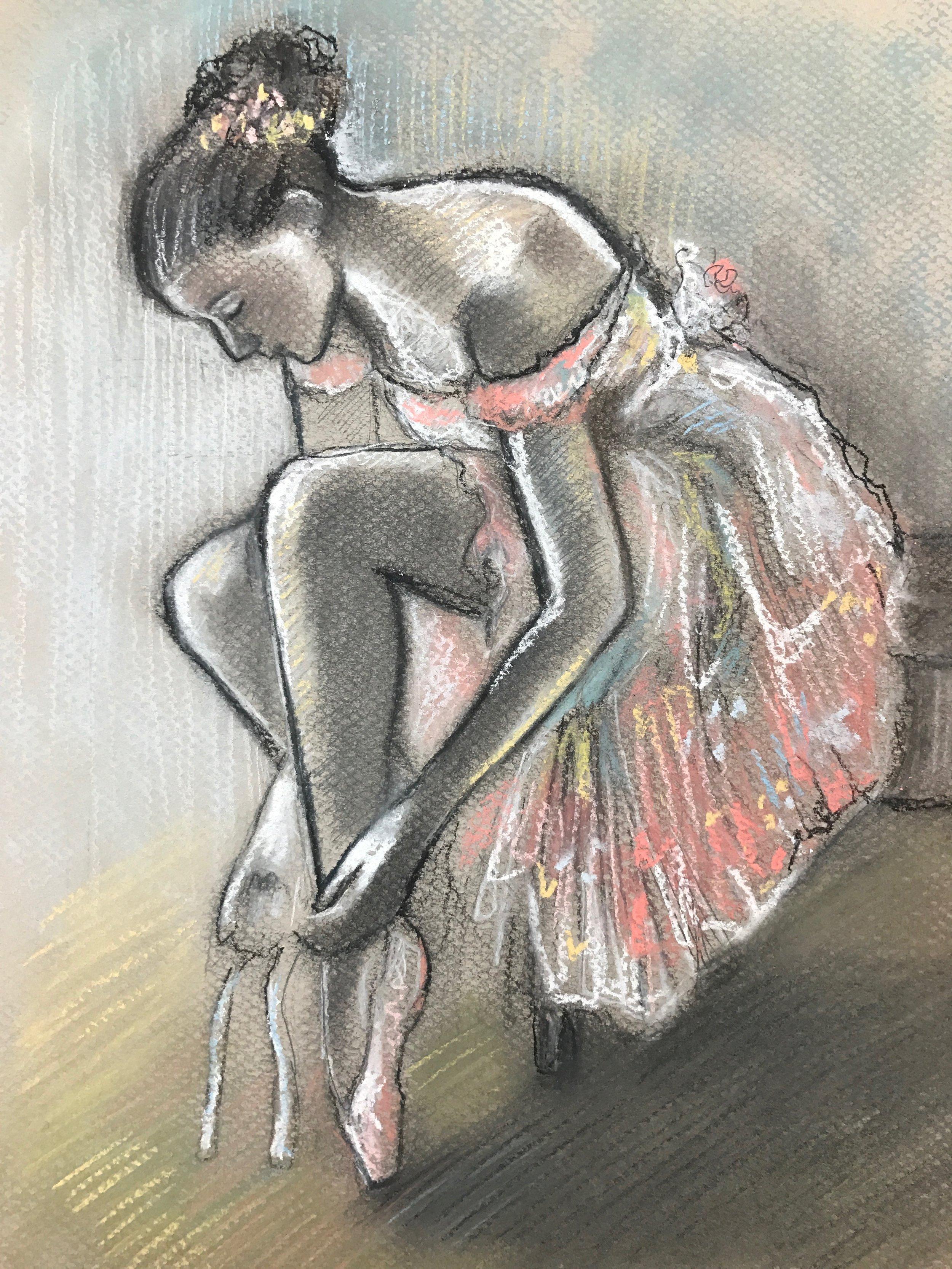 Degas, Dancer putting on her slipper 1896