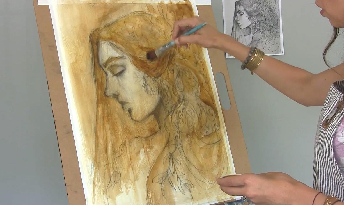 Shadow & light portrait on linen canvas