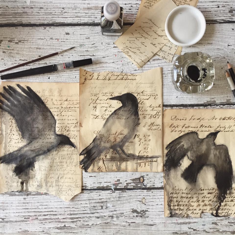 Expressive ink birds on vintage papers