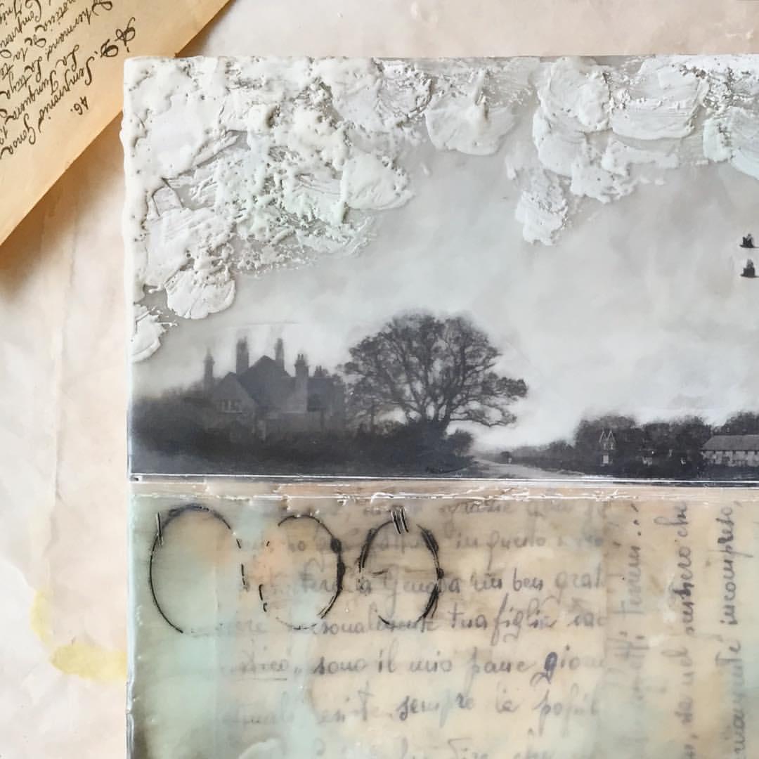 Collage and encaustic landscapes