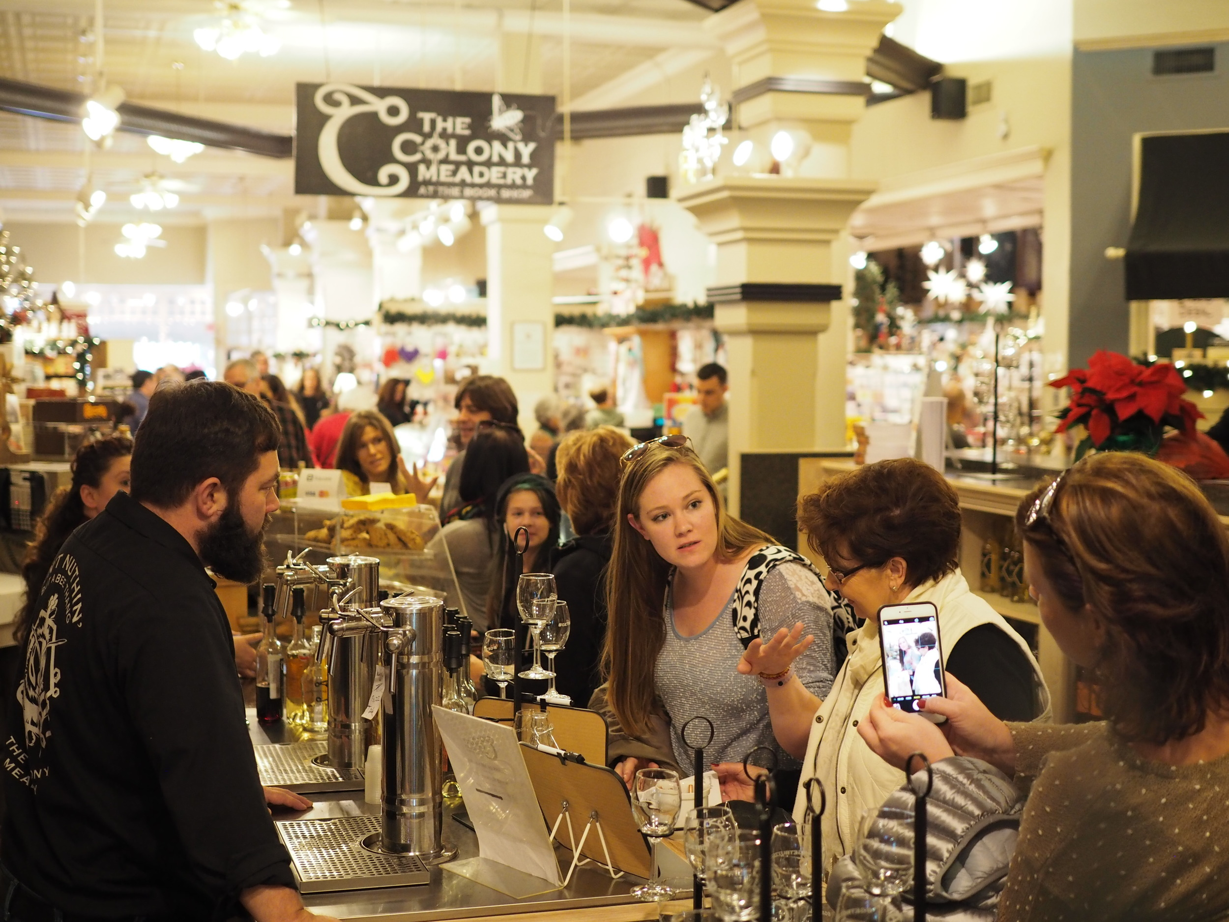 Visit The Colony Meadery at the Moravian Book Shop in Downtown Bethlehem this holiday season