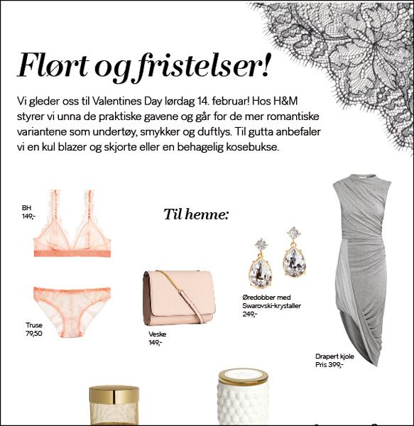 H&M  Nyhetsbrev: Valentine