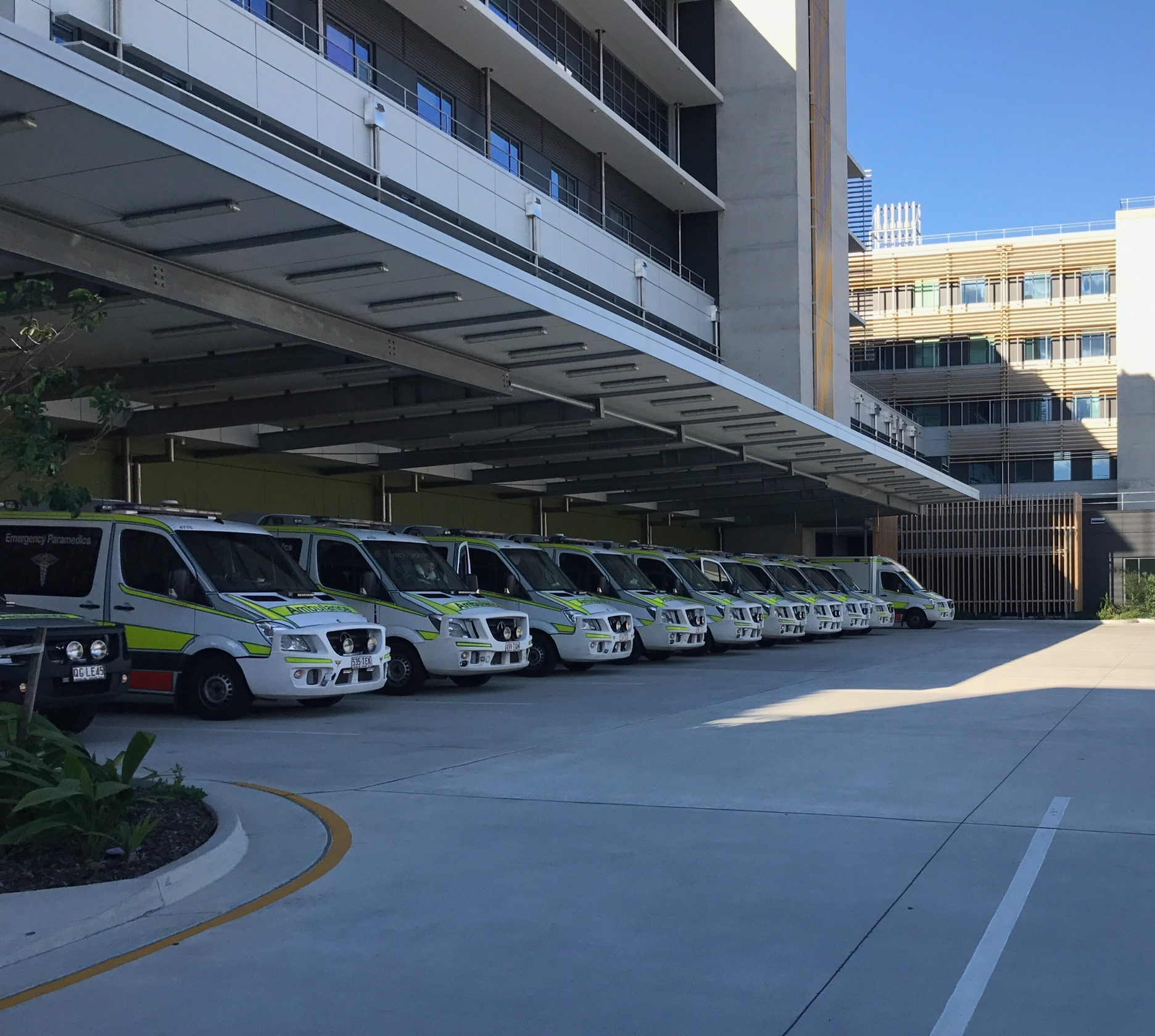 Eleven QAS vehicles including ambulances were ramped outside SCUH Emergency Department on 28 April