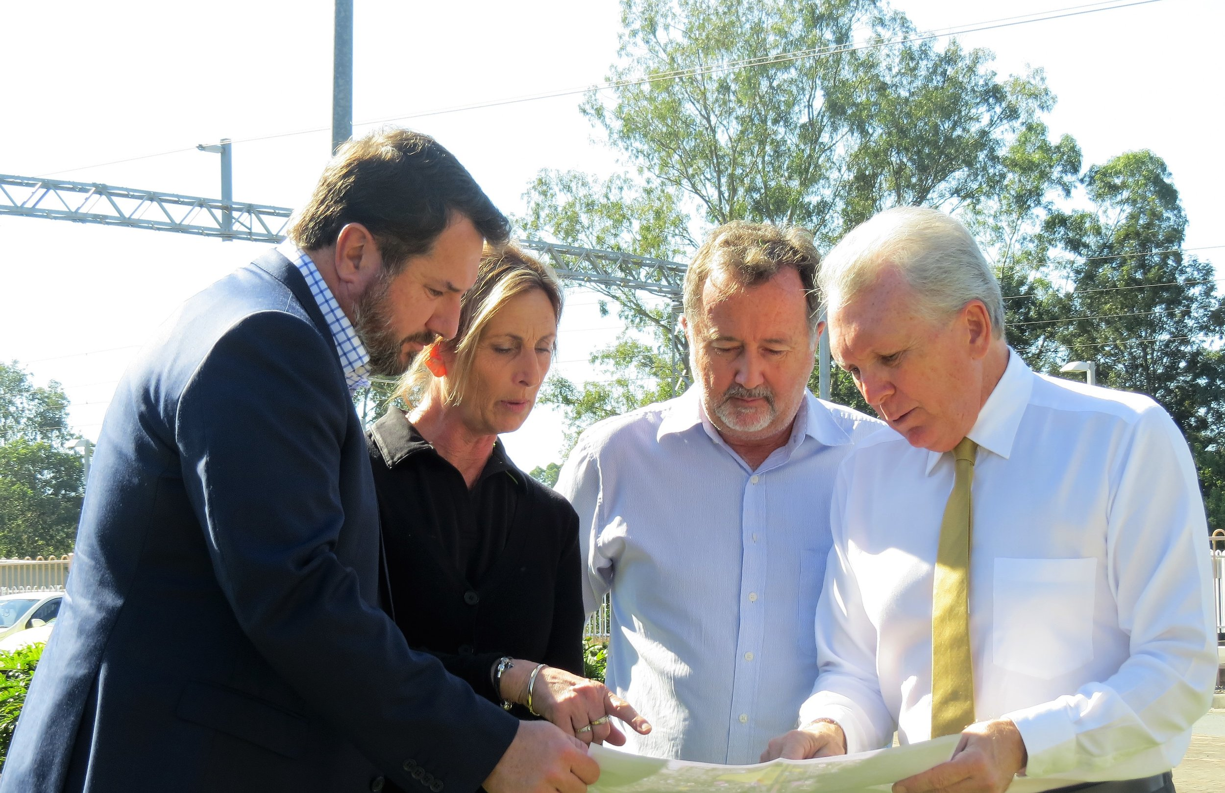 Andrew Powell (Shadow Minister for Transport), Cheryl Rutland (BP Landsborough), Ashley Grigor (Landsborough IGA) and Mark McArdle (State Member for Caloundra).