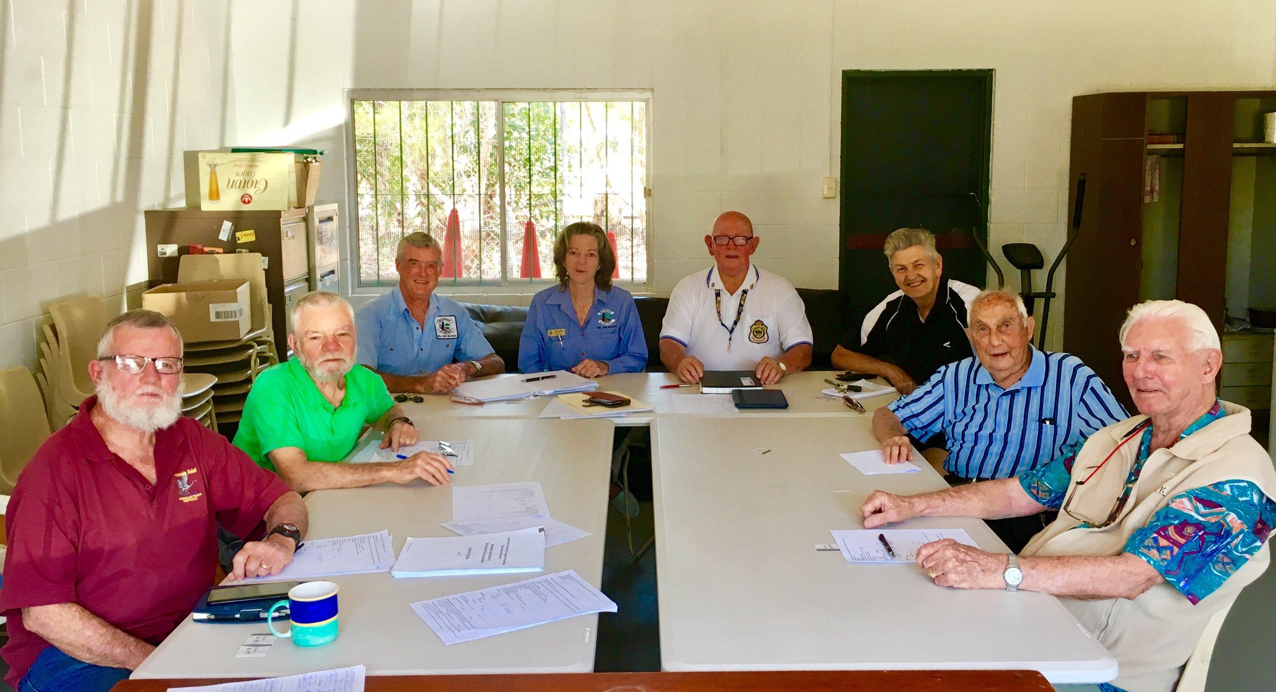 Beerwah & District RSL Sub-branch members: Damian, Leo, John, Libby, John (President), Ray, Ken and Ron.