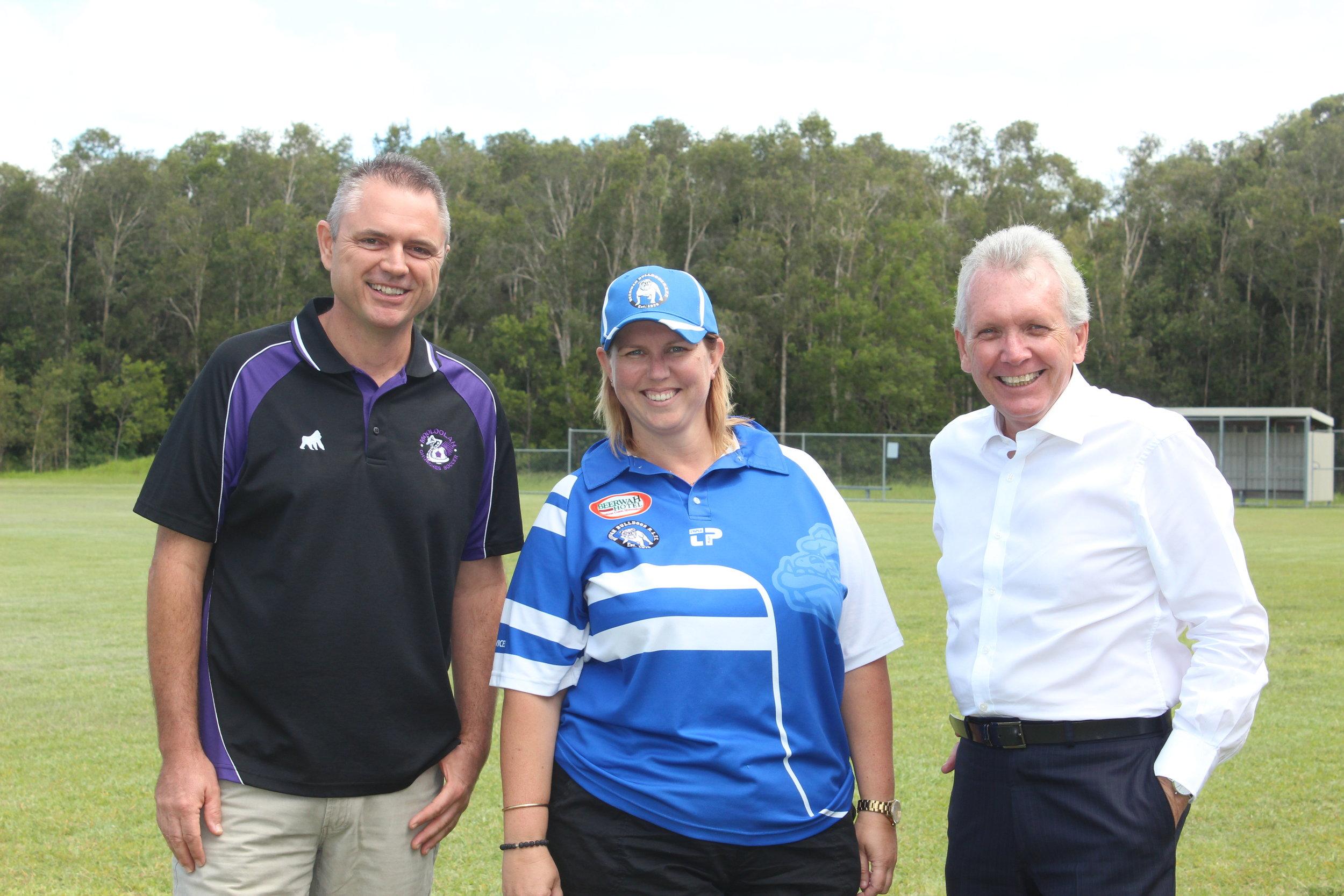 Gus Gillespie (Mooloolah Soccer Club, President), Kylie Bickford (Bulldogs Rugby League Club, Treasurer) with Mark McArdle MP.