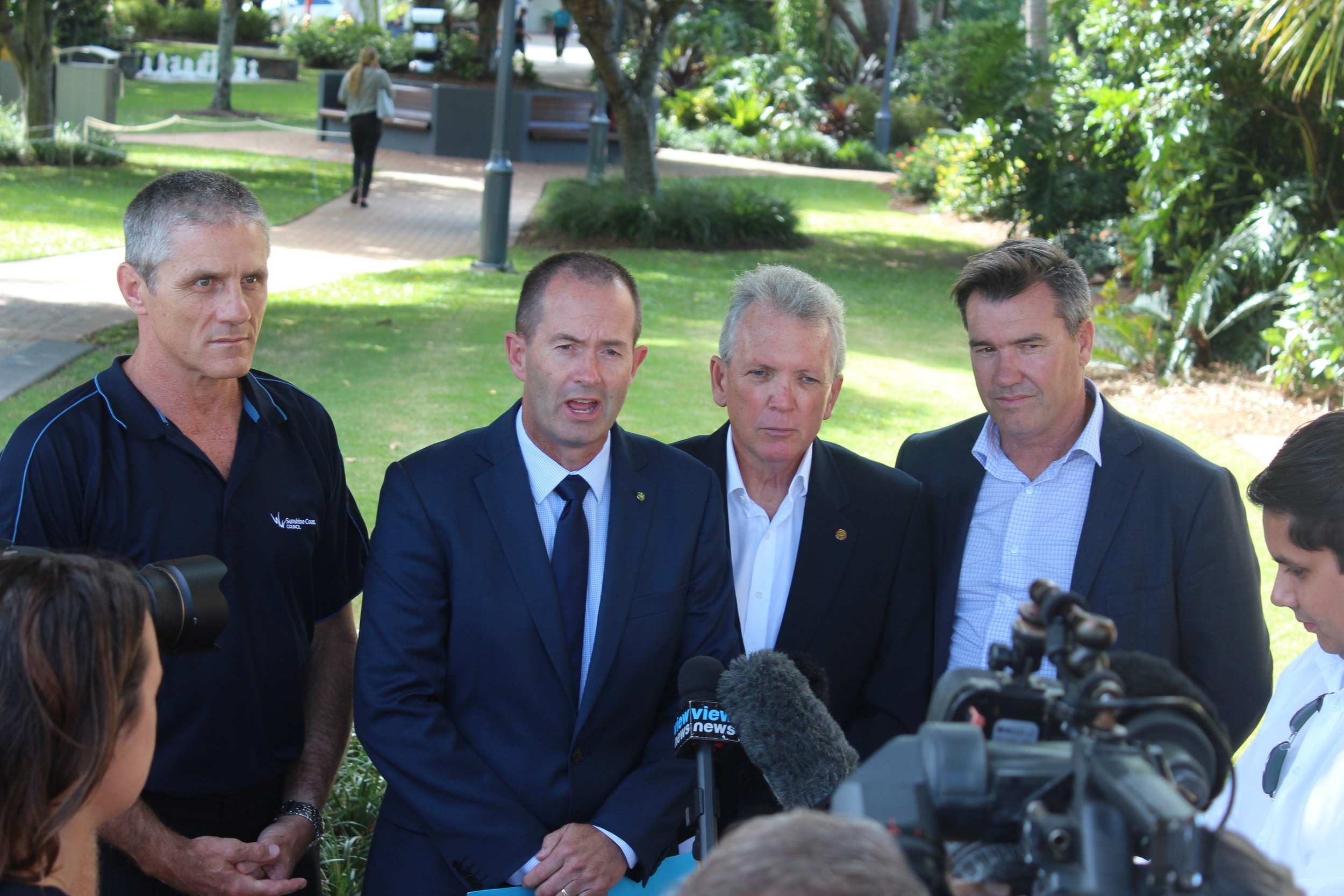 Cr Tim Dwyer joined Federal Member for Fisher Andrew Wallace, State Member for Caloundra Mark McArdle and Caloundra Chamber of Commerce president Michael Shadforth during the May 2017 CCTV funding announcement.