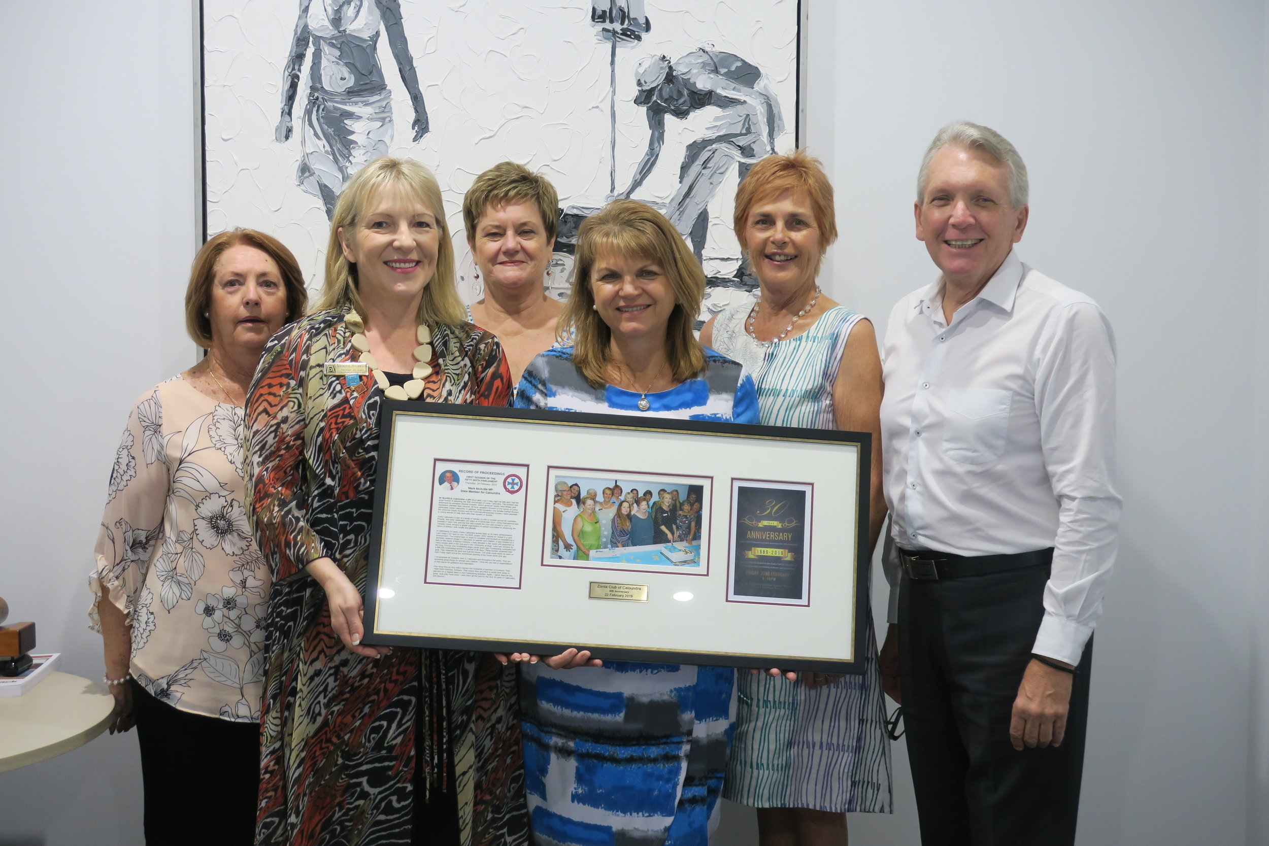 Zonta's Marilyn Holness, Simone Ricketts (President) Pam Hall (Vice-President), Kelly Callaghan (Past President) and Jillian Scott are presented with a special 30th anniversary commemoration by Mark McArdle MP.