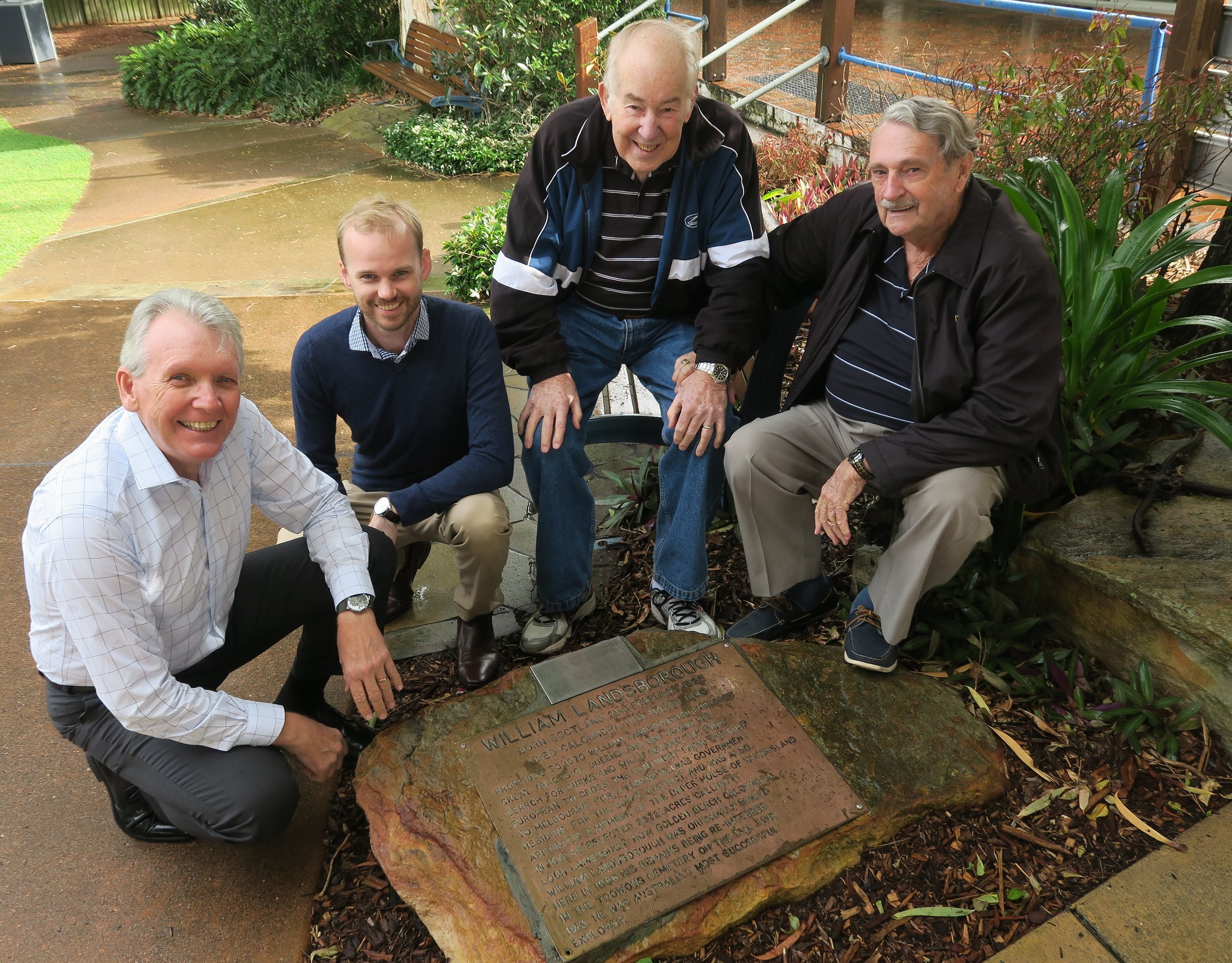Mark with Caloundra Residents Association Inc members Brady Sullivan, Ian Smyth (President) and Peter Ryan (Vice-President) at the deteriorating William Landsborough Memorial Plaque in Golden Beach.