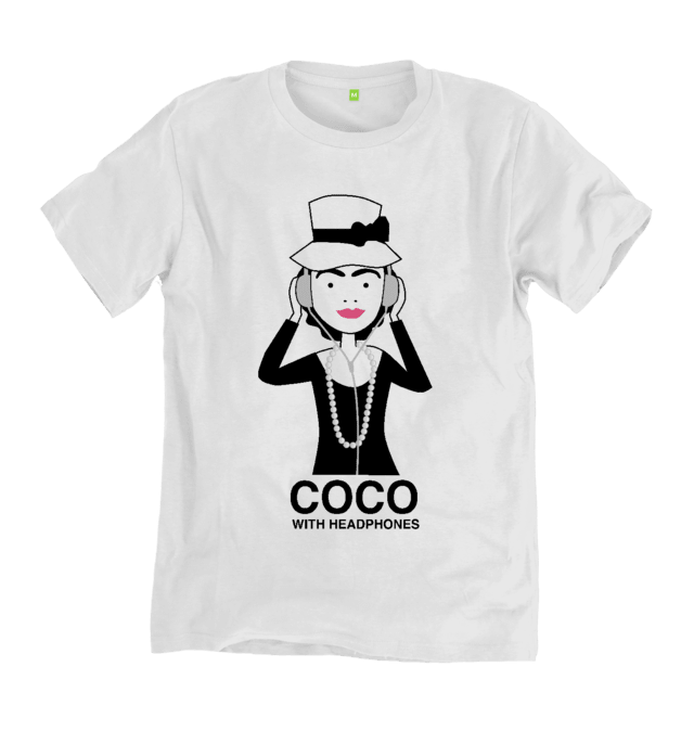 Coco Chanel with Headphones  T Shirt
