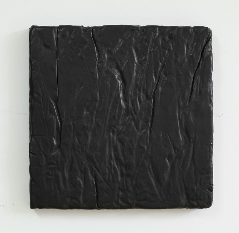 Davina Semo   THAT'S AS FAR AS I COULD LOOK AHEAD: AFTER THAT IT'S ALL VAGUE TO ME, I DON'T KNOW WHAT WILL HAPPEN TO ME , 2015 Leather, pigmented reinforced concrete 18 x 18 x 1.75 inches