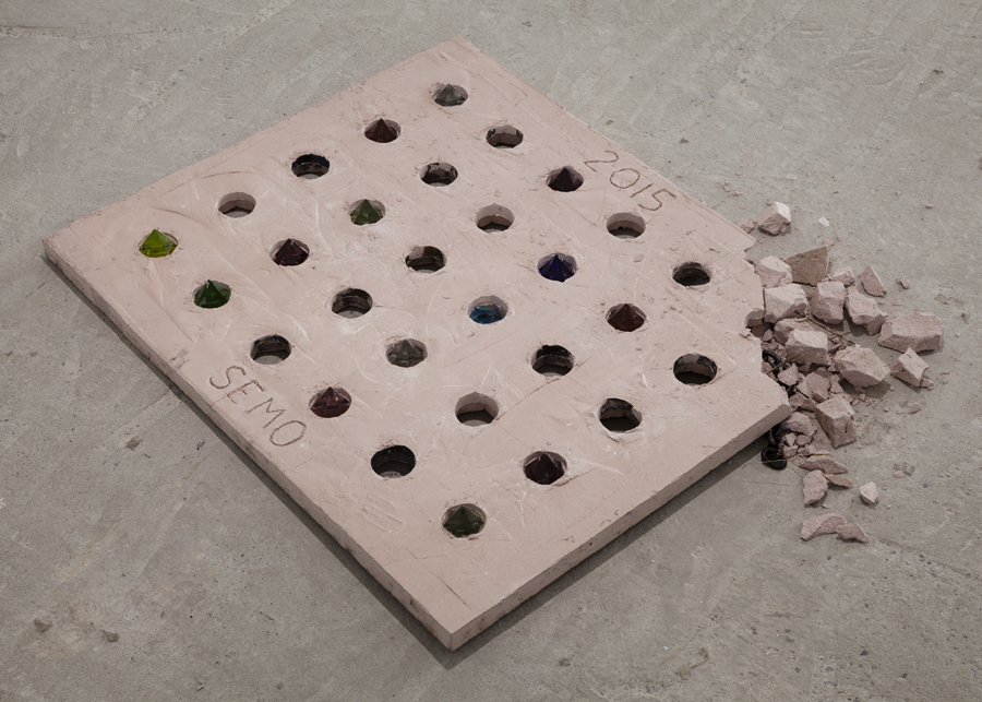 Davina Semo    THE NOISE IS PITCHED TO A LEVEL OF PAIN SHE ABSORBS AS A PERSONAL TEST , 2015  Pigmented reinforced concrete, rock salt, cast glass  42.25 x 36 x 2.875 inches