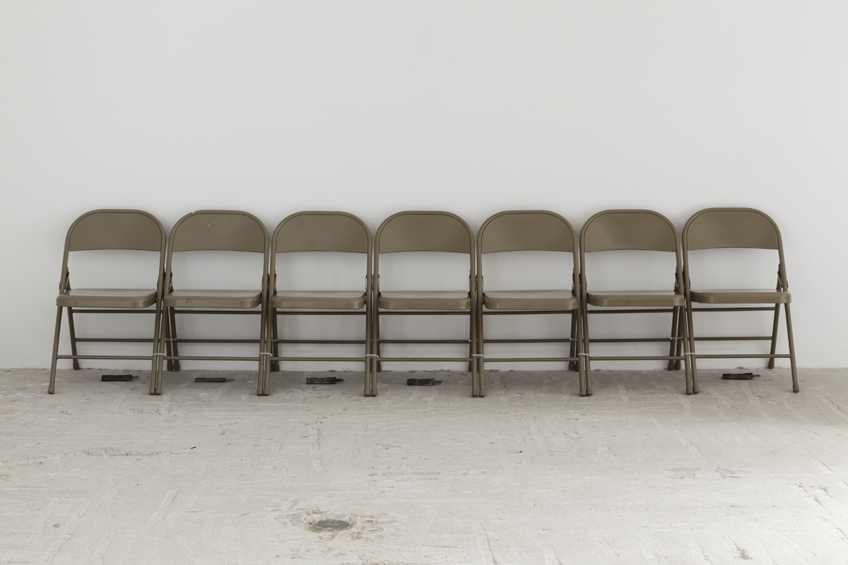 Davina Semo    I AM A PATIENT GIRL; I WAIT I WAIT I WAIT I WAIT , 2015  Steel folding chairs, cast stainless steel  Dimensions variable