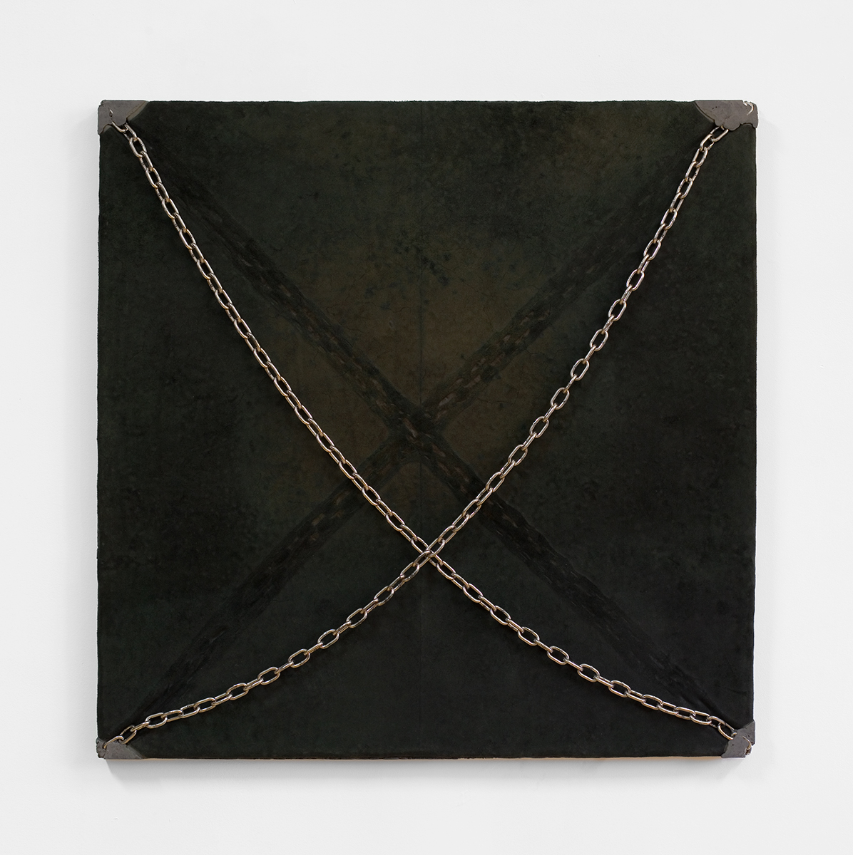 Davina Semo    I MAKE MYSELF STILL, TO LISTEN , 2015  Stainless steel chain, leather, pigmented reinforced concrete  36 x 36 x 2.25 inches