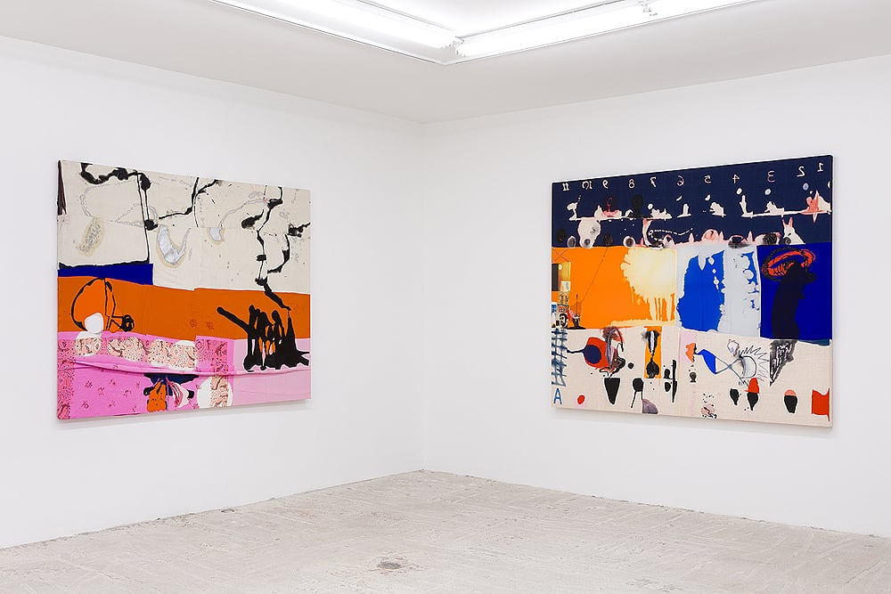 Molly Zuckerman-Hartung    Gimme Shelter (left) & Enigma-Riddle-Joke  (right)  Installation view at Lyles & King