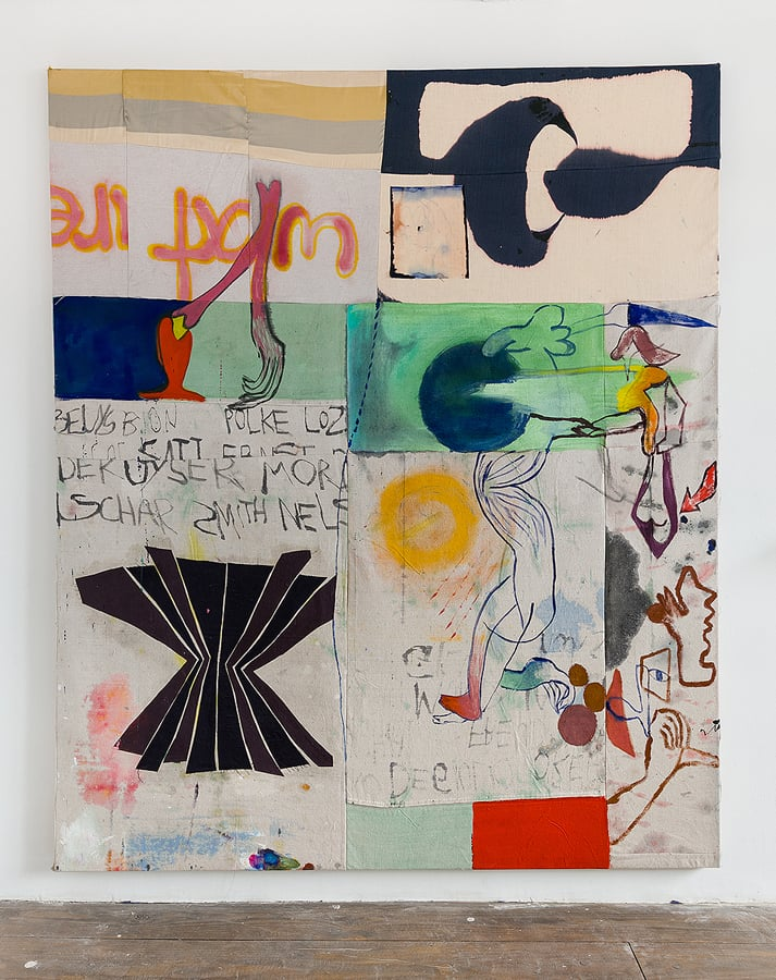 Molly Zuckerman-Hartung    What Are Years , 2015  Oil, ink, acrylic and bleach on sewn silk, linen and drop-cloth  72 x 59.5 inches