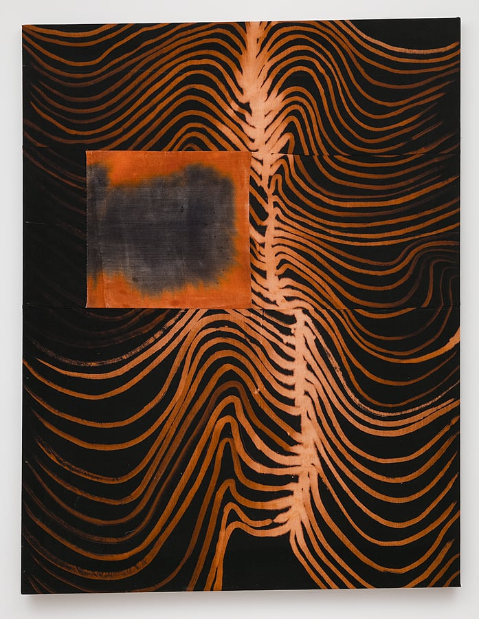 Molly Zuckerman-Hartung    Perfect Bound, 2015  Bleach and dye on sewn linen  62.125 x 47.875 inches