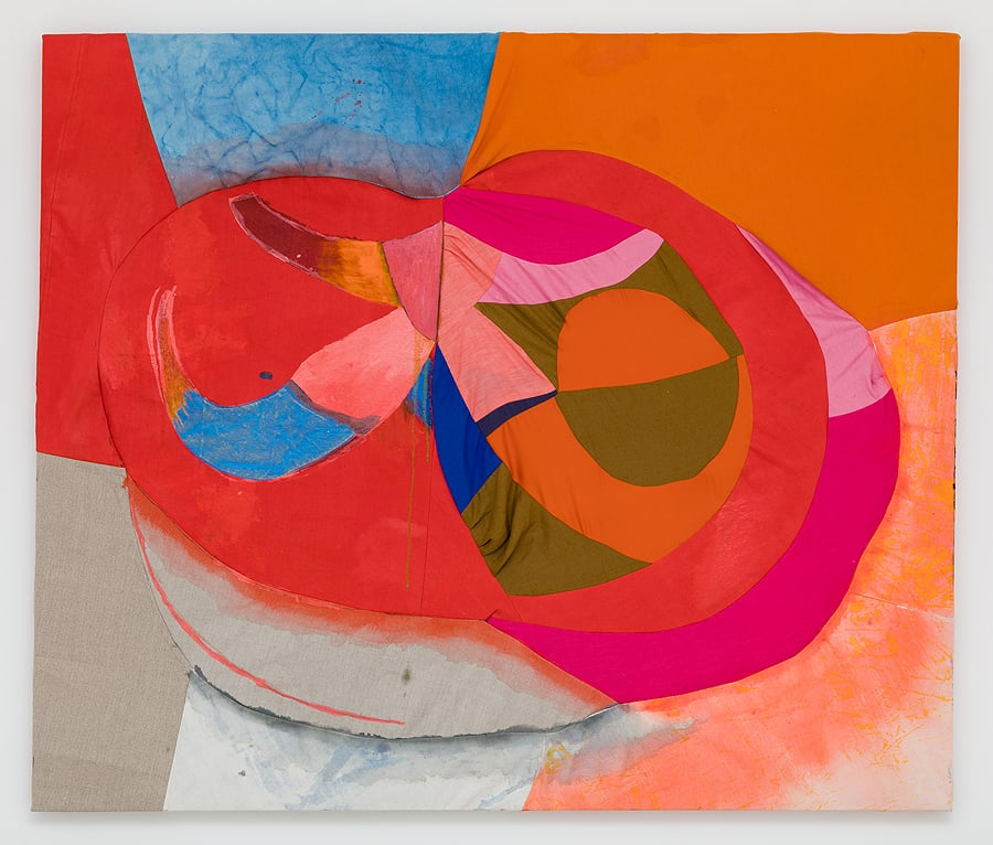 Molly Zuckerman-Hartung    Fruited Void , 2014  Acrylic and oil on sewn silk, cotton, linen  55.125 x 65.125 inches