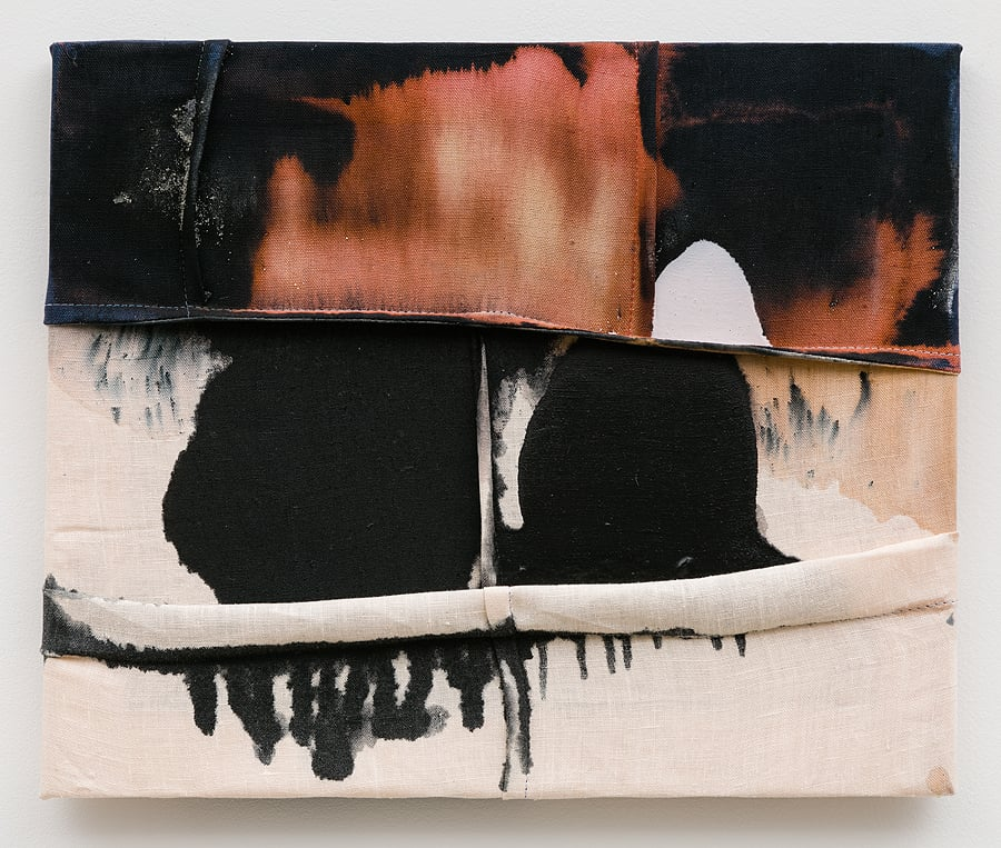 Molly Zuckerman-Hartung    To be no one's sleep under so many lids , 2015  Latex, bleach and dye on sewn linen  14 x 17 inches