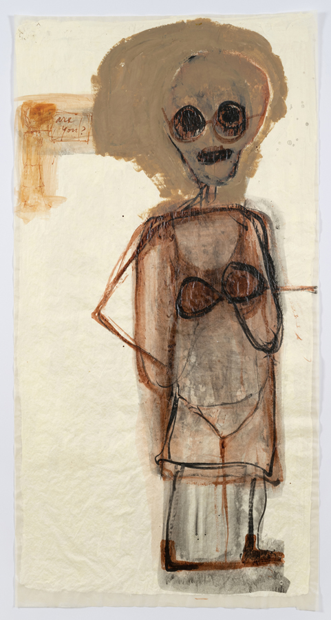 """Mira Schor    """"Power"""" Figure #11: Are You? , 2015  Ink, Flashe, and gesso on tracing paper  45 x 24 inches"""