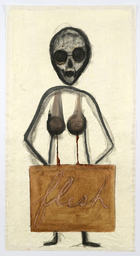 """Mira Schor    """"Power"""" Figure #16: Flesh , 2015  Charcoal, ink and gesso on tracing paper  45 x 24 inches"""