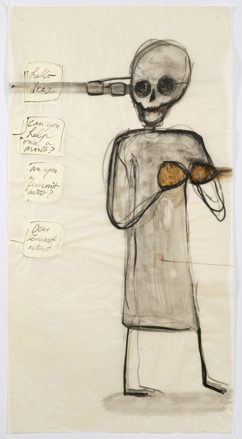 """Mira Schor    """"Power"""" Figure #8: Hello Dear , 2015  Ink and gesso on tracing paper  45 x 24 inches"""