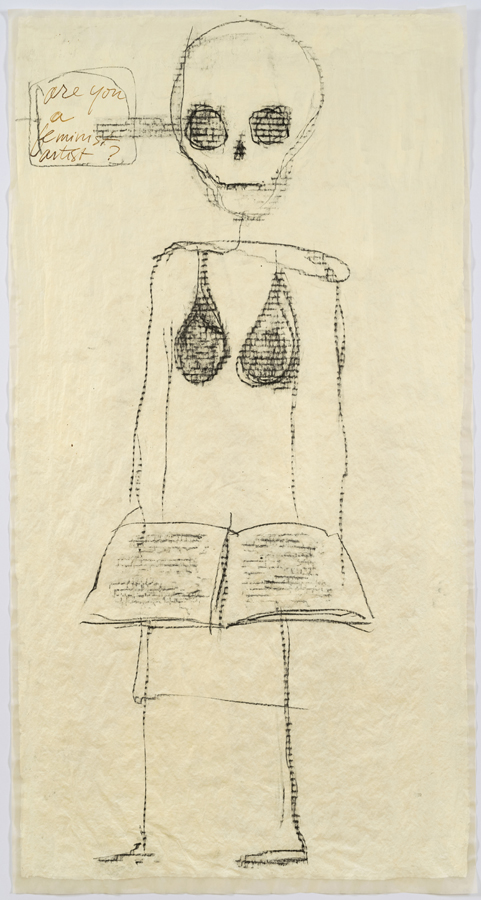 """Mira Schor    """"Power"""" Figure #2: Rubbing/Book , 2015  Ink, charcoal and gesso on tracing paper  45 x 24 inches"""