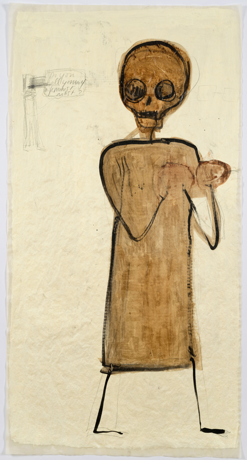 """Mira Schor    """"Power"""" Figure #3: Are You A Feminist Artist? , 2015  Ink, pencil and gesso on tracing paper  45 x 24 inches"""